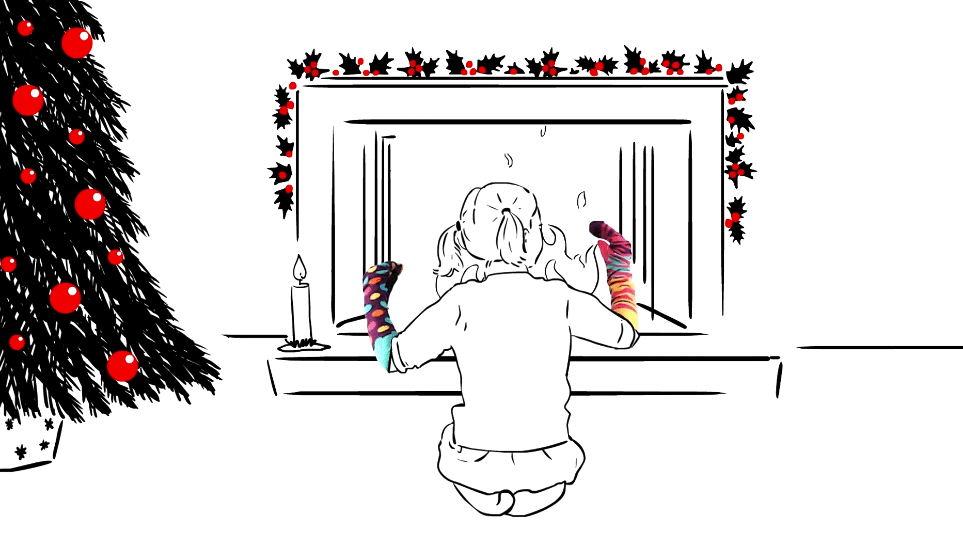 character animation social media video - girl with sock puppets in front of fire