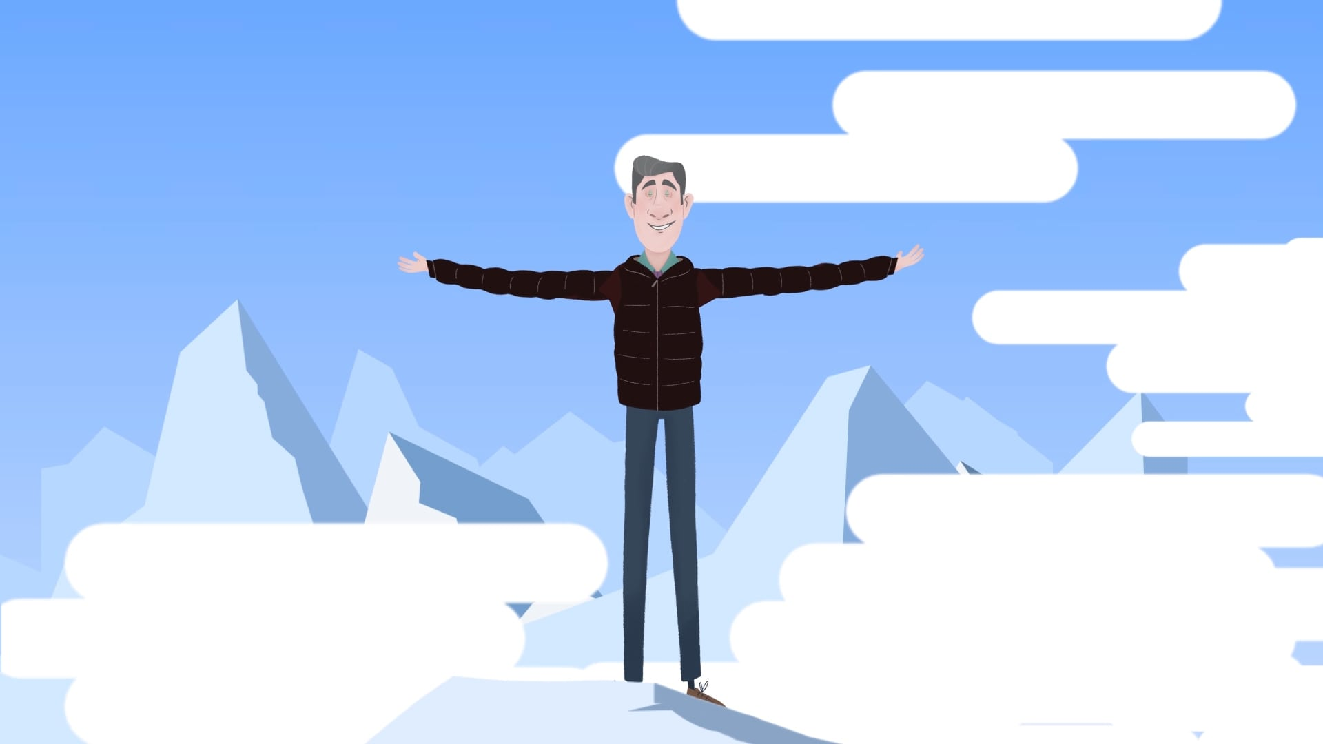 character animation for prospective investors - man with arms open wide