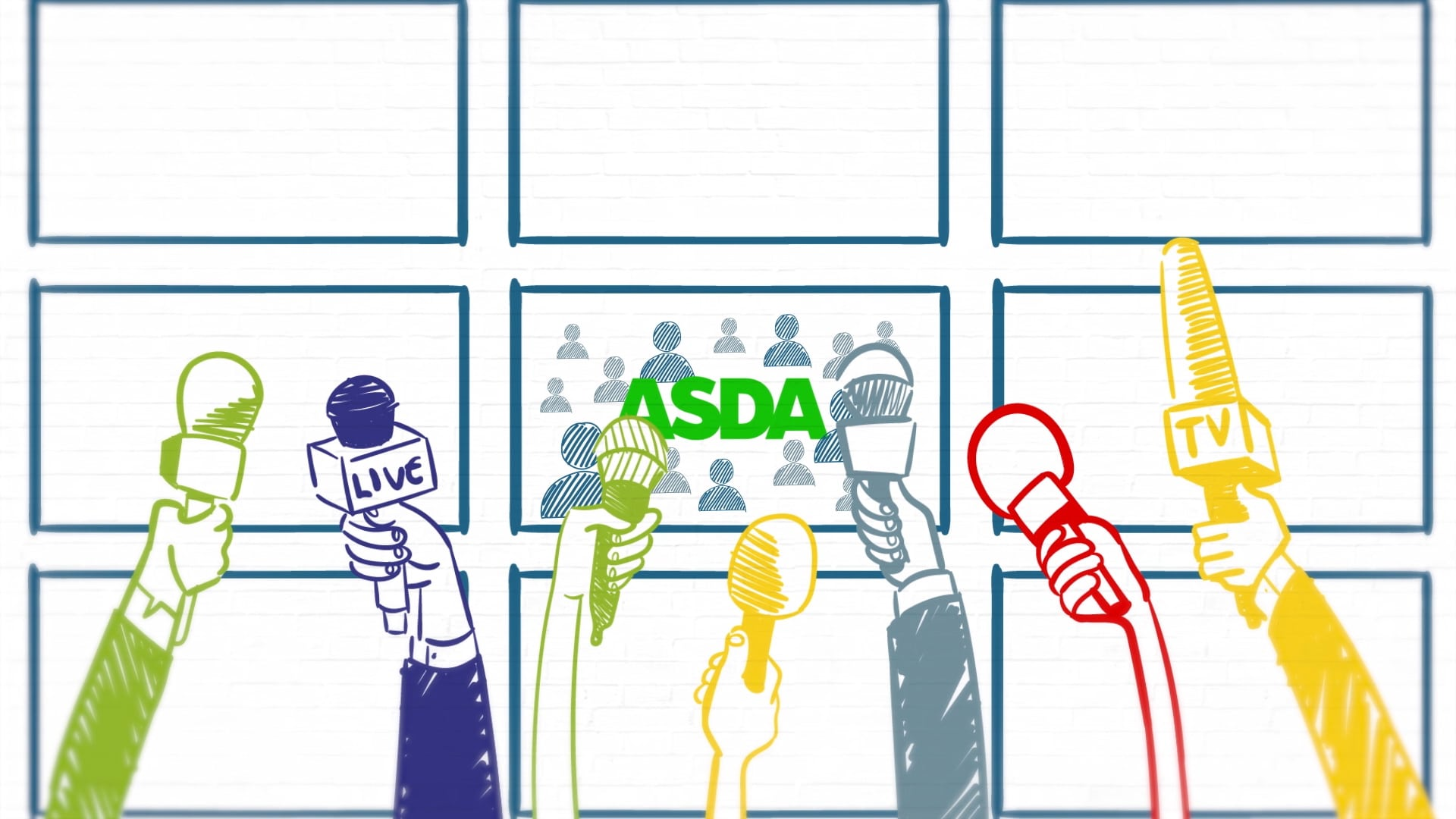 animated explainer video for research - microphones held up to Asda staff