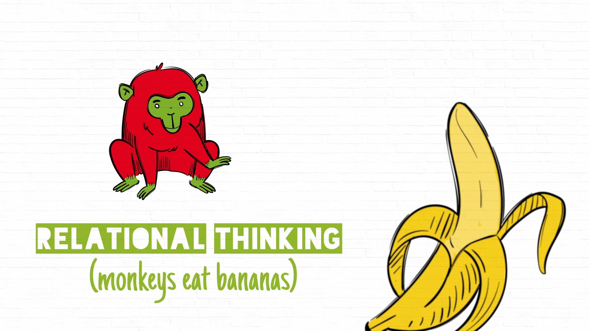 animated explainer video for research | relational thinking - monkeys eat bananas