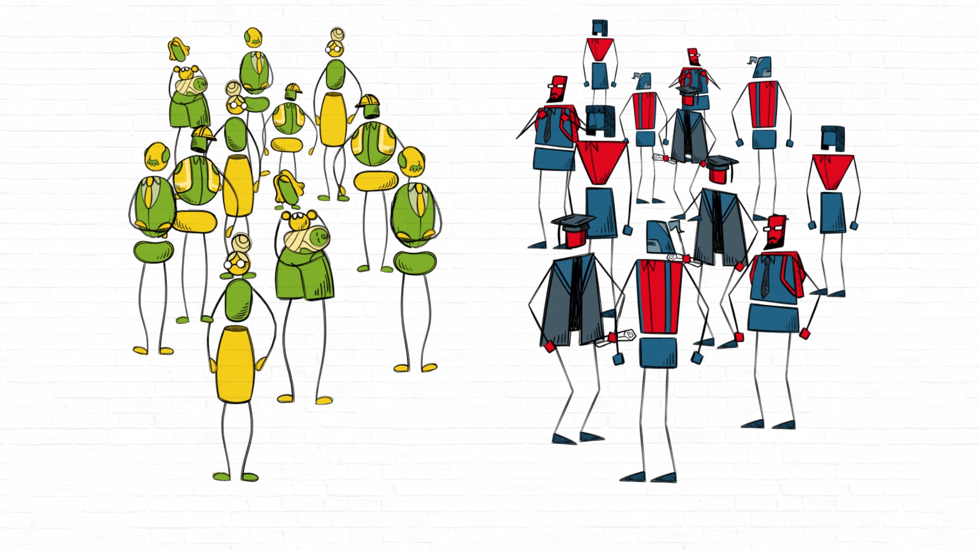 animated explainer video for research   animated colourful characters