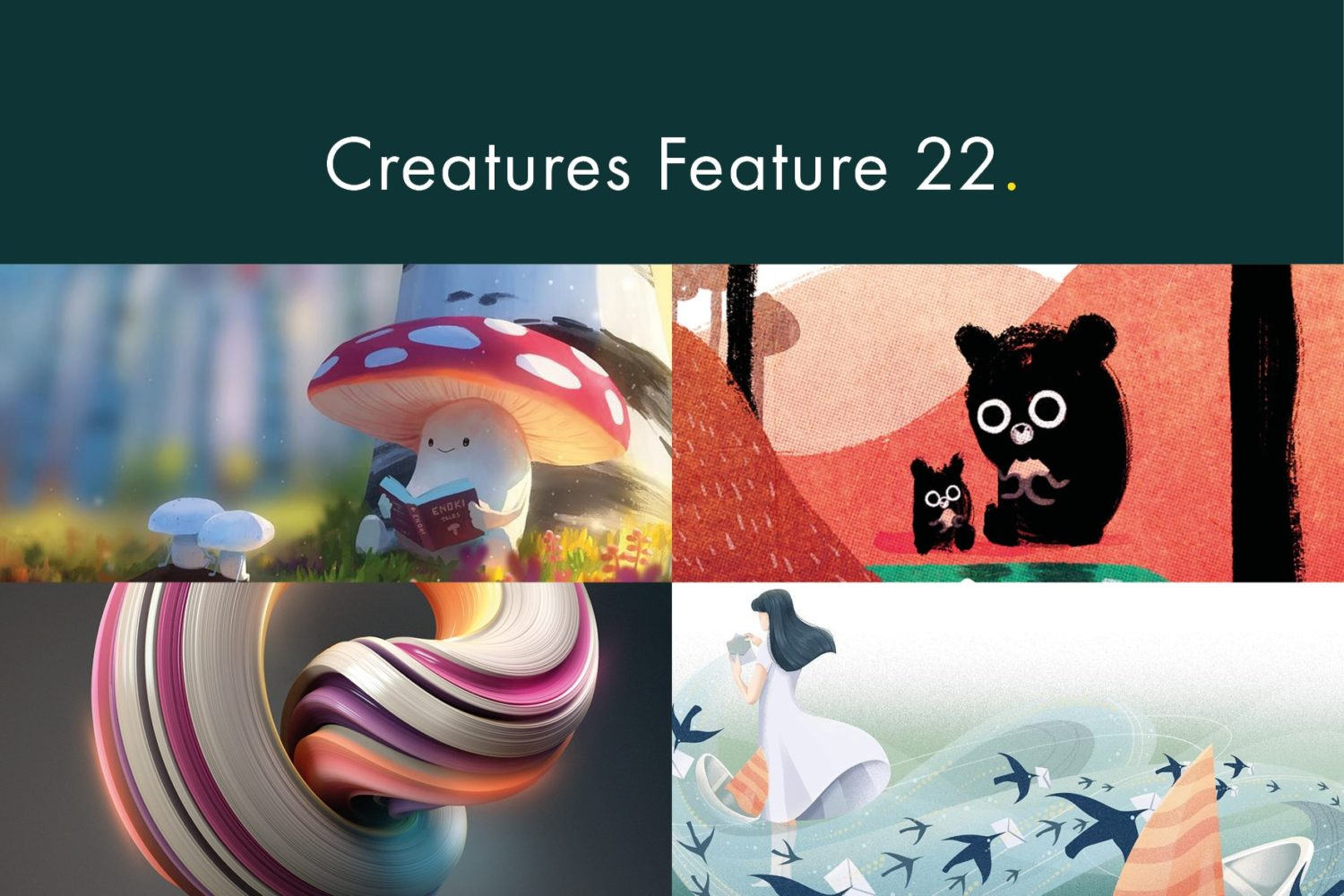 Creatures Feature 22 - mushroom, bears, and birds in wind