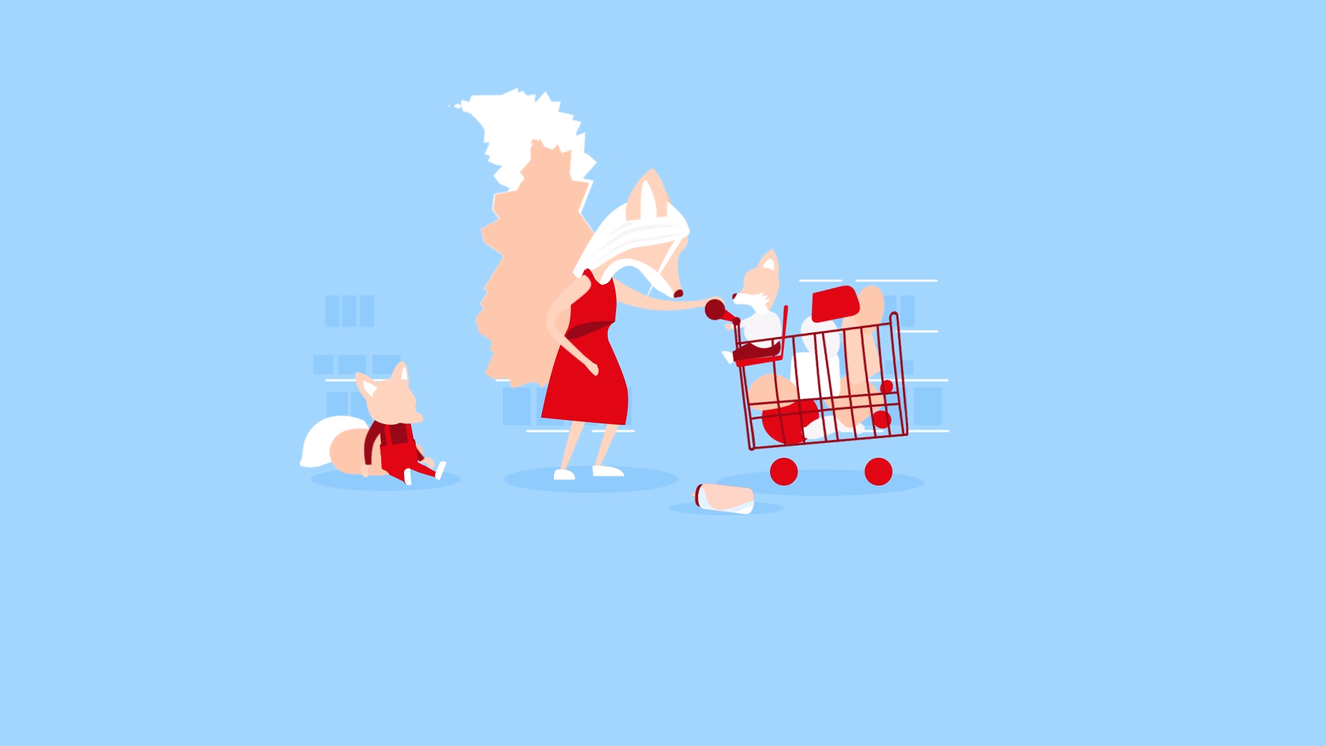 Image of The Big Issue Foundation's #EasyGiving Campaign showing mother fox shopping with children