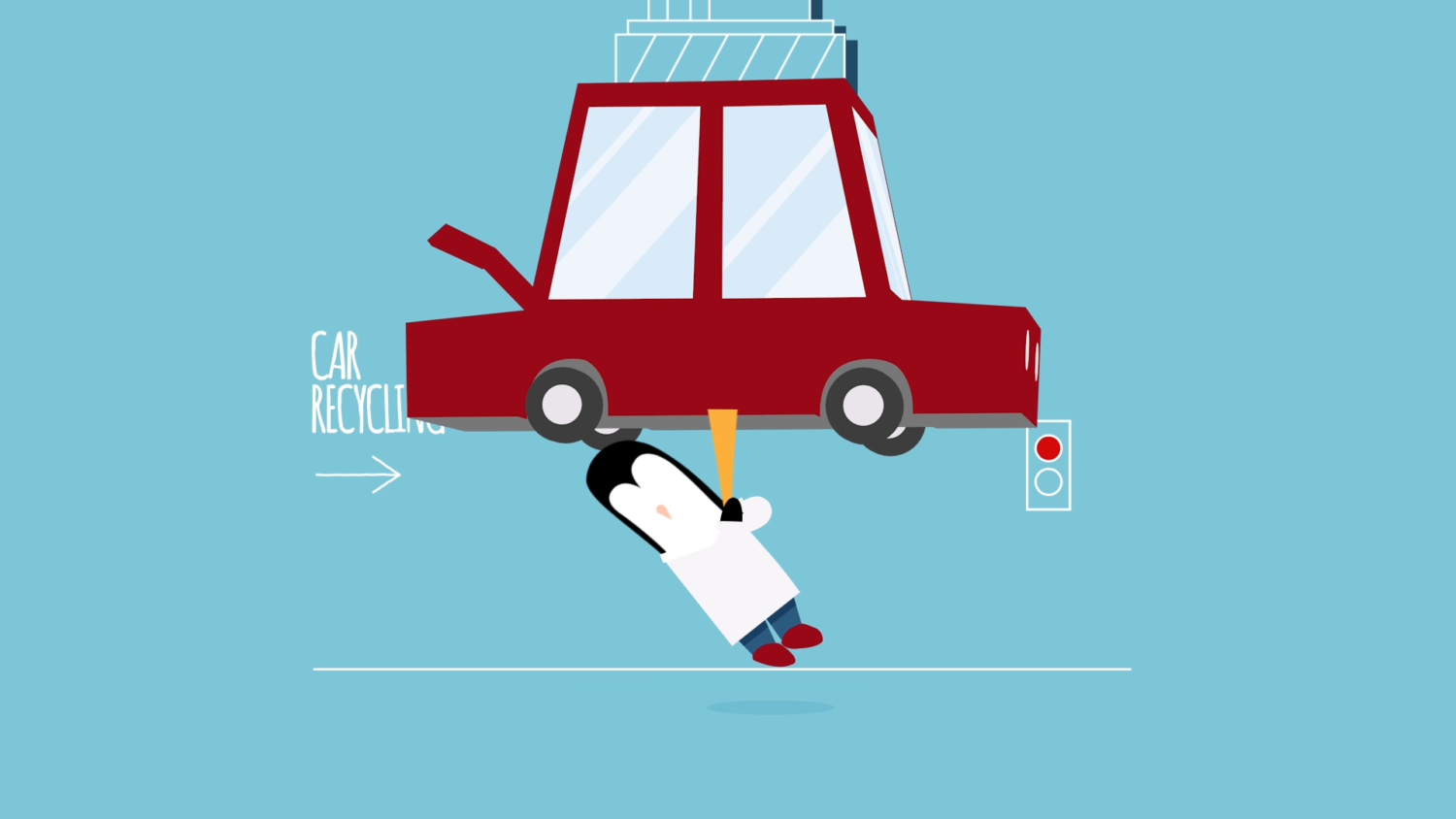 Image of The Big Issue Foundation's #EasyGiving Campaign showing penguin trapped in car