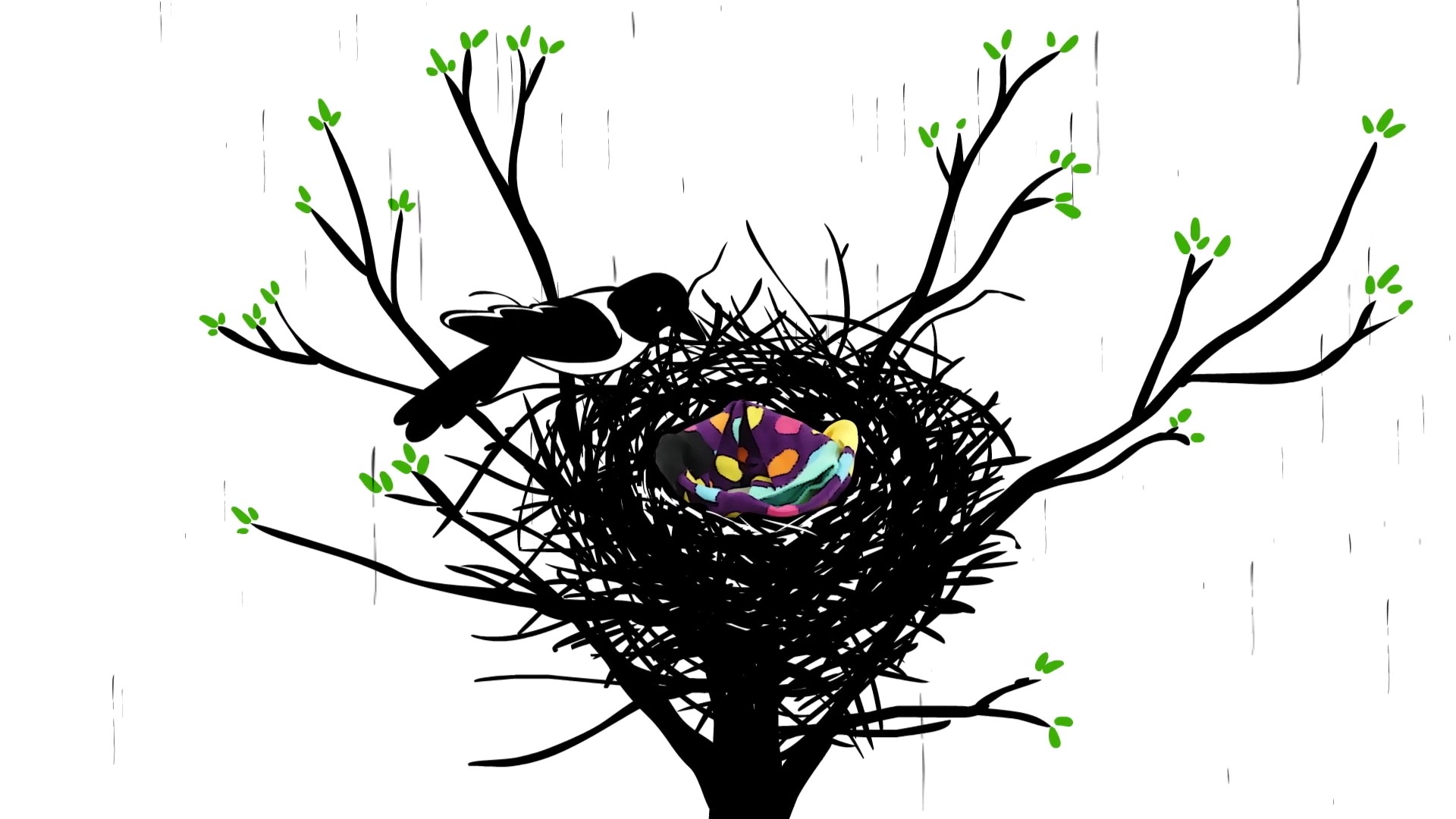 Animated bird in nest with Happy Socks