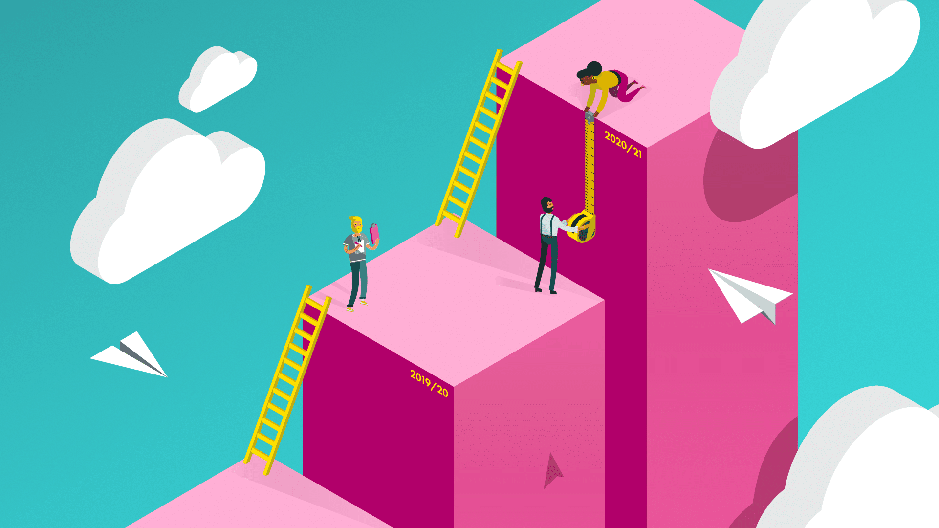 Branded content animation of people climbing ladders