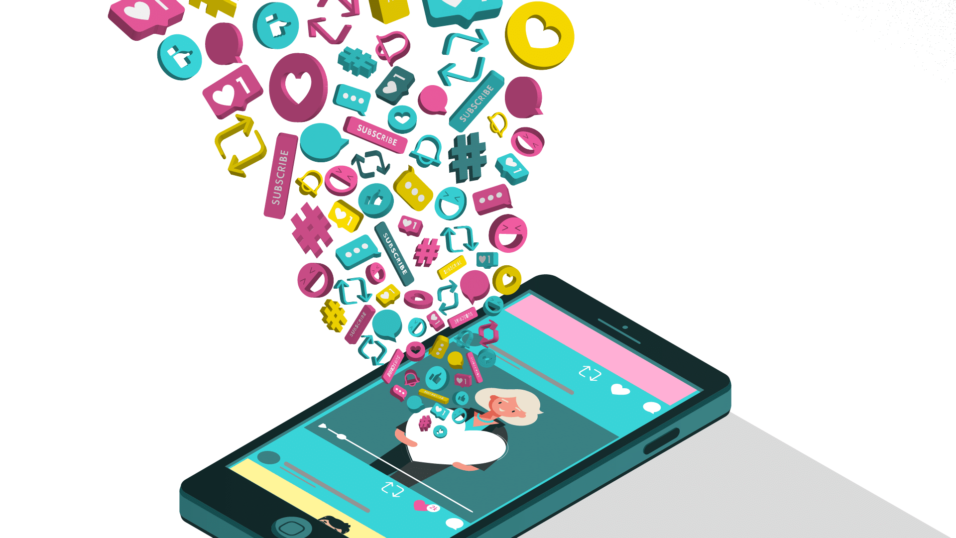Animated phone with social media video marketing engagement